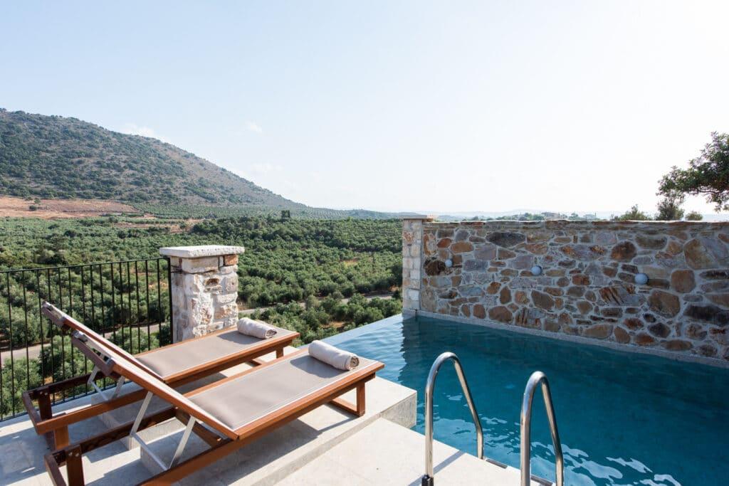 Huwelijksreis in Europa. Lameriana Village op Kreta, Griekenland.
